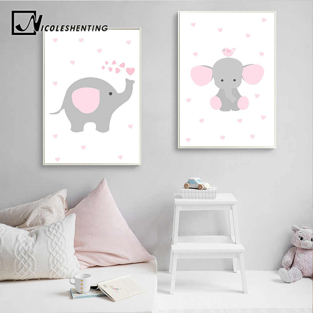 Elephant Nursery Wall Art Canvas Poster Pink Cartoon Print Painting Simple Nordic Kids Decoration Picture Girls Bedroom Decor