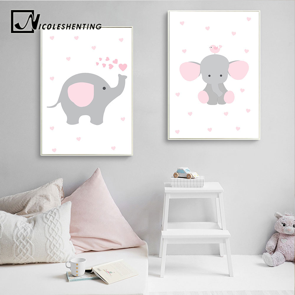 Us 2 79 50 Off Elephant Nursery Wall Art Canvas Poster Pink Cartoon Print Painting Simple Nordic Kids Decoration Picture S Bedroom Decor In