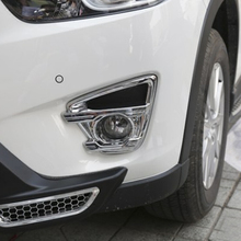 цена на for Mazda CX-5 2013 2014 2015 2016 ABS Car front fog lamp fog light Cover Trim sticker Car Styling Accessories 2pcs