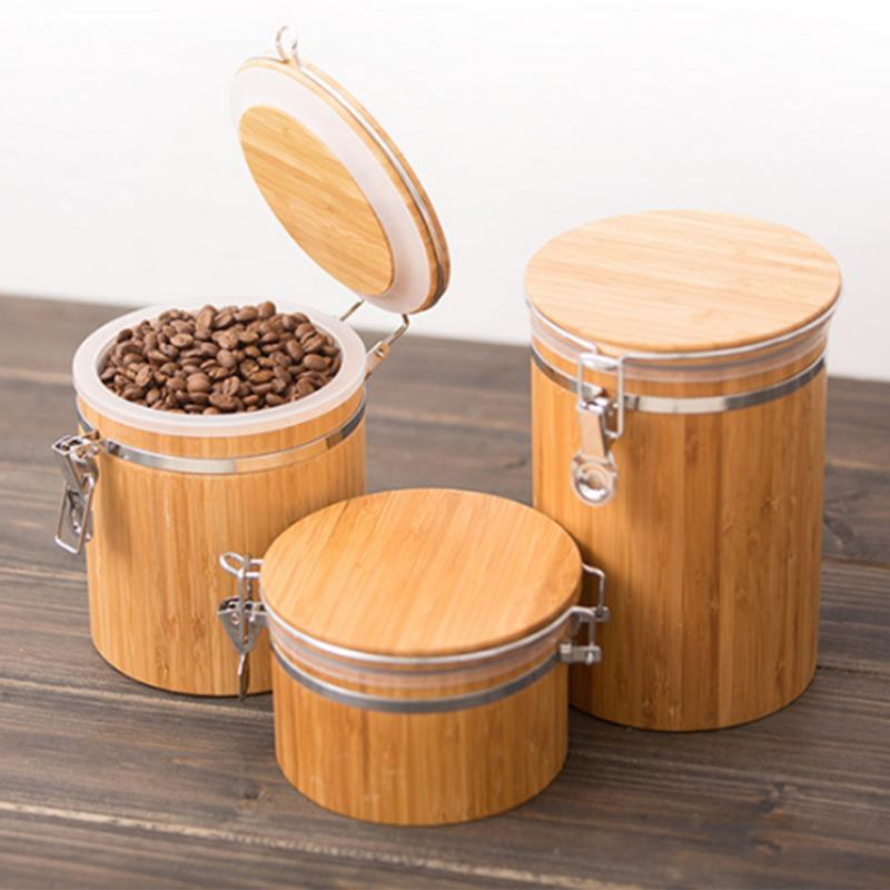 Food Storage Box Container Wooden Tank Sealed Can Grains Beans