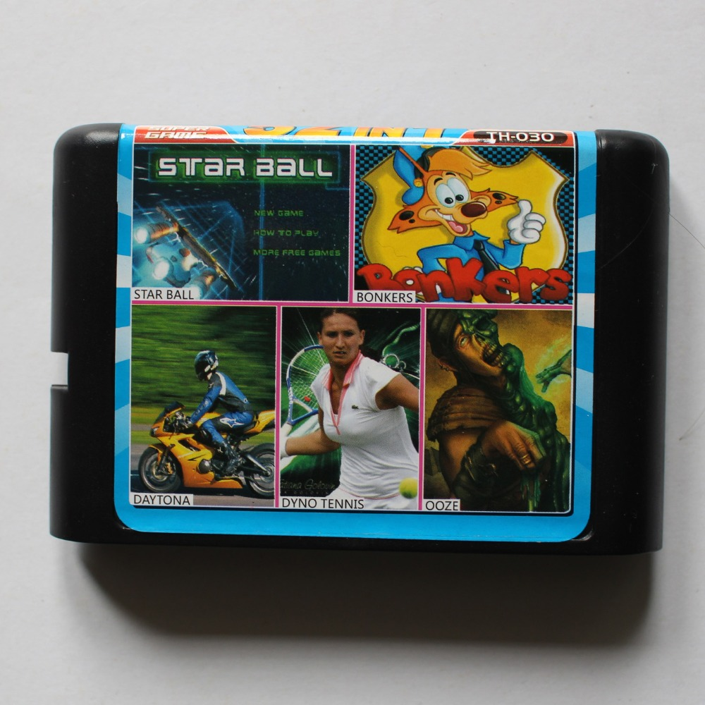 Star Ball/ Bonkers/ Daytona/ Dyno Tennis/ OOZE 16 bit MD Game Card For Sega 16bit Game Player