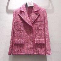 Новая женская куртка пальто двубортное высокое качество твидовое пальто для леди 2019 Новая розовая Женская куртка