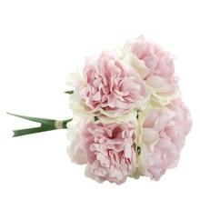 A bouquet 5 heads peony flower Artificial Silk Fake Flowers Peony Floral Wedding Bouquet Bridal Hydrangea Decor wholesale A2000