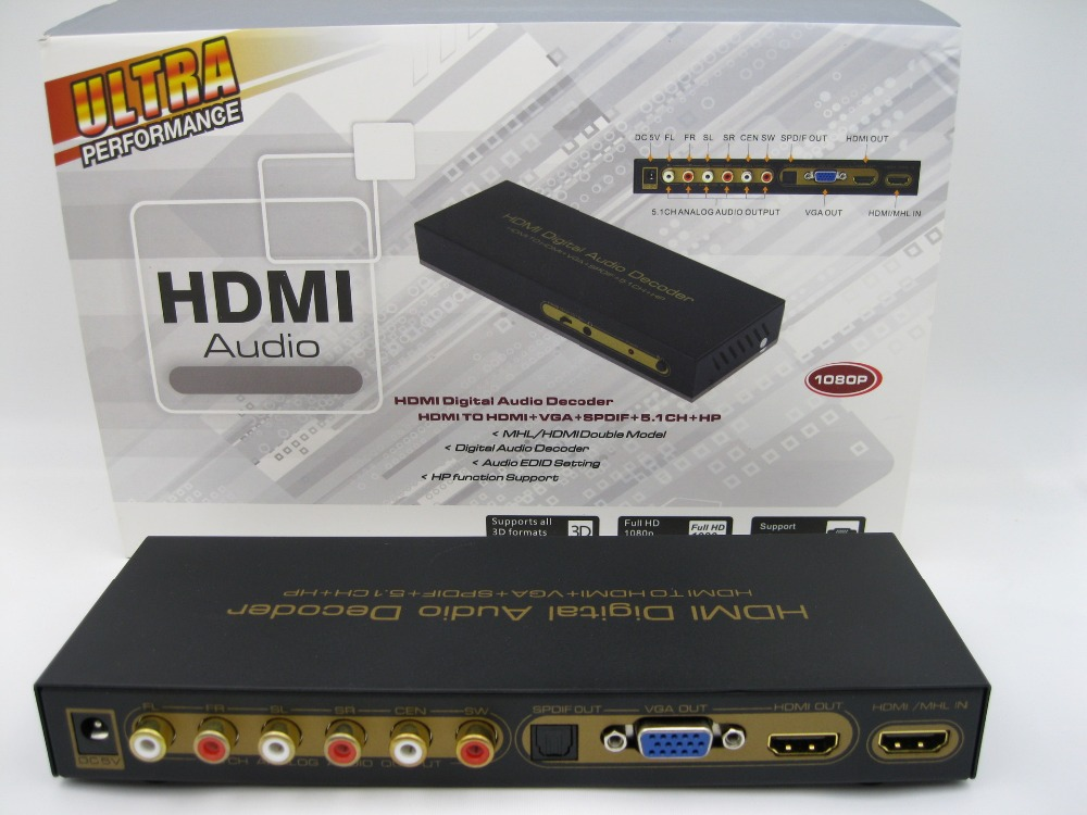 Hot sale HDMI Digital Audio Decoder HDMI TO HDMI+VGA+SPDIF+5.1CH Up to 1080P Support CEC ...