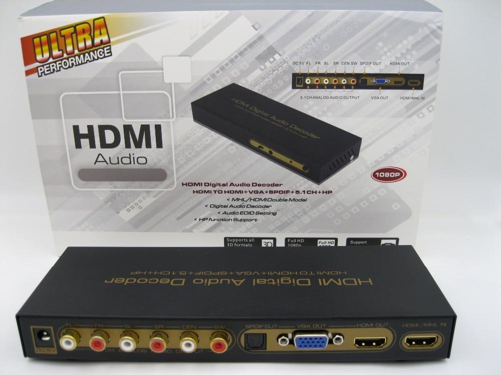 Hot sale HDMI Digital Audio Decoder HDMI TO HDMI+VGA+SPDIF+5.1CH Up to 1080P Support CEC ...