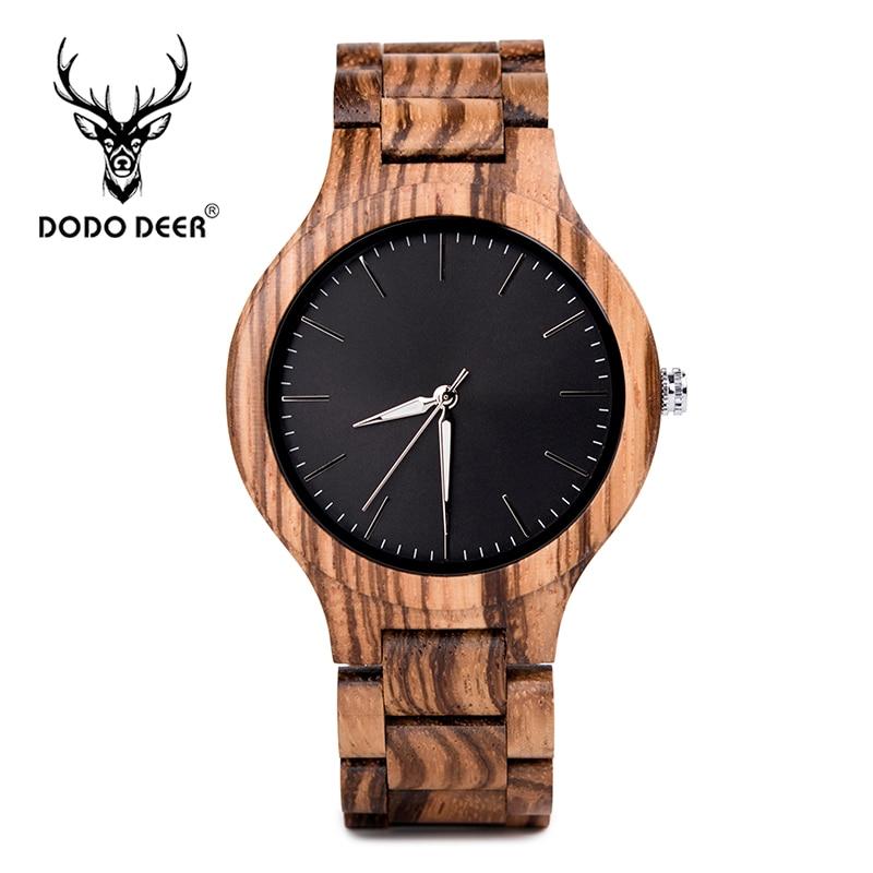 DODO DEER Wood watch black dial simple fashion wood exquisite box custom logo engraving text Drop shipping