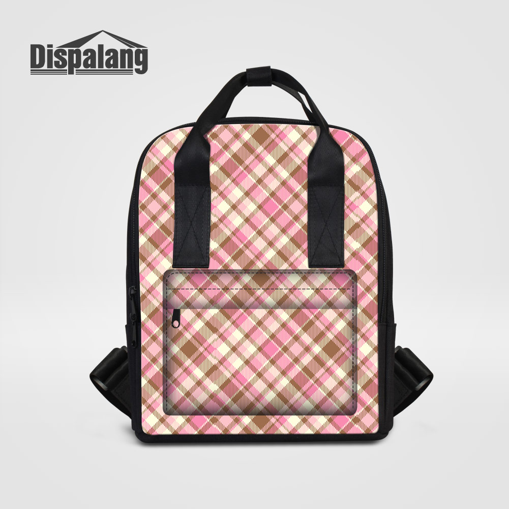 Dispalang Fashion Mummy Maternity Backpacks Plaid Patterns Women Travel Shoulder Bags Vintage Stroller Outdoors Shopping Bagpack