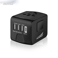 SAUNORCH 여행 어댑터 국제 범용 전원 어댑터 3.4A 4-USB 유형 C USB 전세계 벽 충전기 영국/EU/AU/