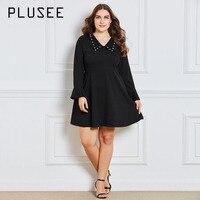 Pluseeชุดขนาดบวก3XL 4XLผู้หญิงA-Line F Lareแขนปีเตอร์คอกระทะซิปธรรมดาF Albala