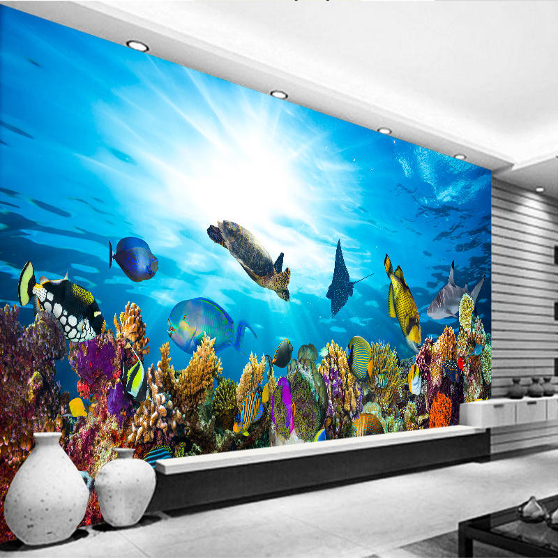 3d high definition aquarium ornament background painting fish tank wallpaper accessories living - Decorative fish tanks for living rooms ...