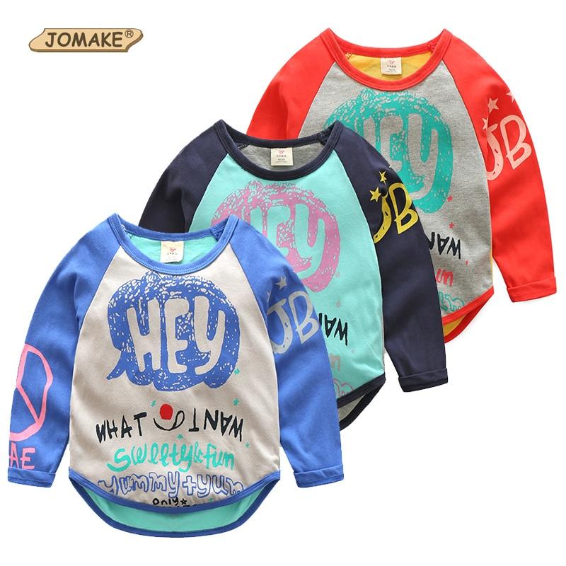 2017 Весенняя фирменная детская Костюмы милые граффити и надписями Детские футболки футболка с длинными рукавами футболки для девочек и маль...