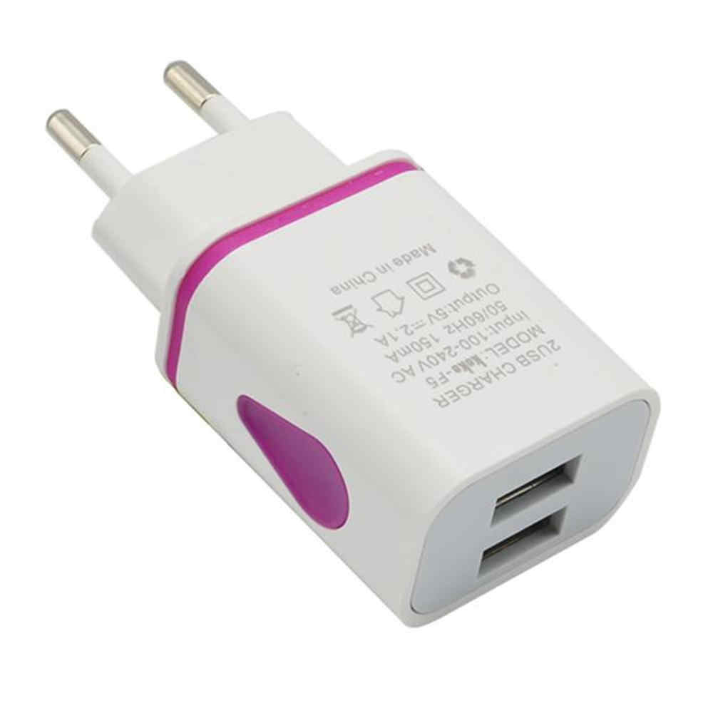 EPULA Fashion LED USB 2 Port Wall Home Travel AC Mobile Phone charger Adapter For S7 EU Plug For MP3 players.