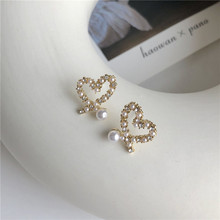Sweet Rhinestones Stud Earrings Fashion Irregular Heart Pearl For Women Jewelry Accessories Wedding Bohemian Bijoux