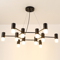 Black Iron Chandelier Modern Glass Lampshade For Dining Room Chandelier Lighting LED Light Fixtures lamparas de techo