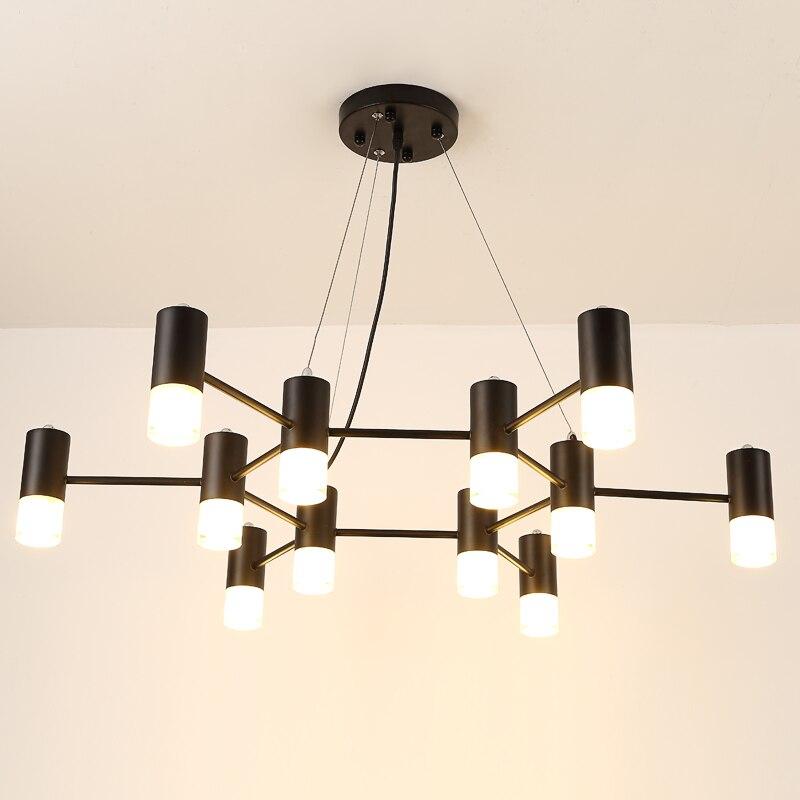 Black Iron Chandelier Modern Glass Lampshade For Dining Room Chandelier Lighting LED Light Fixtures lamparas de techo