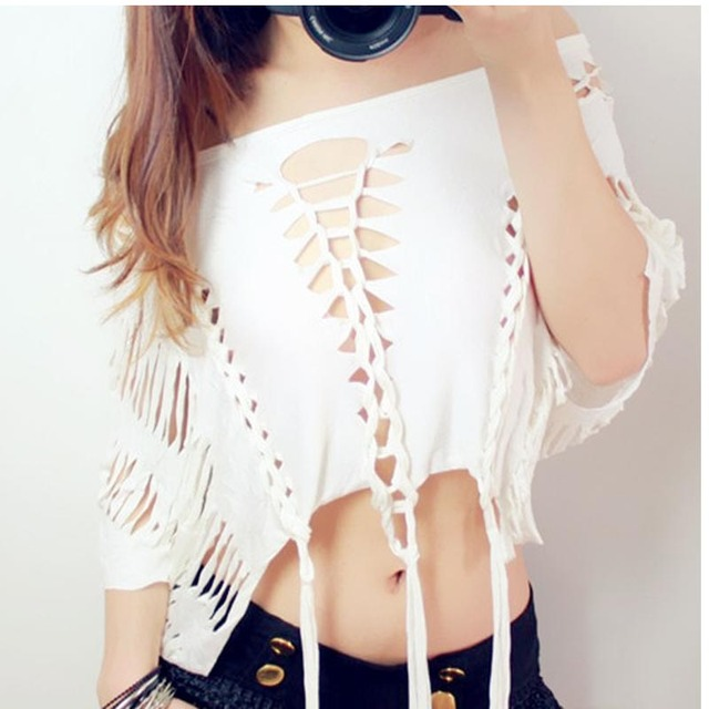 Crop tops Women Hollow out Tassel personality nightclub sexy strapless hip-hop jazz dancer costumes Female Punk T-shirts 909