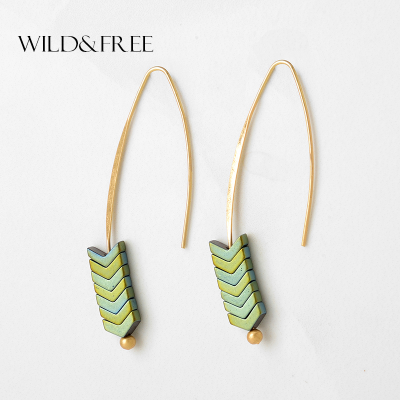 Gaya Boho 8 Warna Hijau Batu Drop Earrings Untuk Wanita Vintage Emas Kait Segitiga Pendant Earrings Fashion Jewelry Grosir