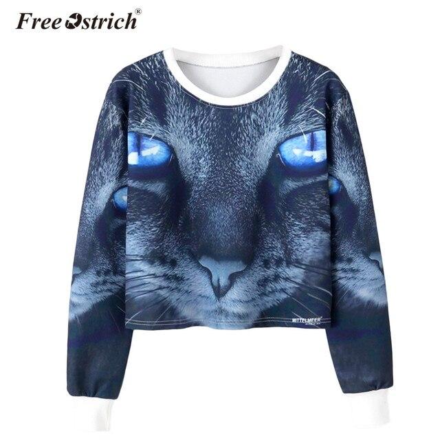 Free Ostrich Sweatshirt Hoodies Women Autumn Cropped Short O Neck Femme Pullover Long Sleeve Tracksuit Sweatshirts L0830 by Free Ostrich