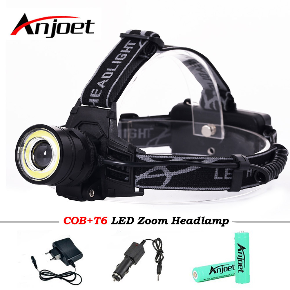 Anjoet led headlamp headlight led cree xml t6 cob head torch Zoomable flashlight light super bright waterproof headtorch lamp