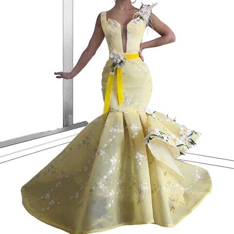 Vestidos com Flores e Faixa sem Mangas Mais Novo Clara Sereia Celebridade Rendas Noite Runaway Tapete Vermelho Vestidos Grande Festa Cor