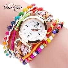 DUOYA Top Brand Women Bracelet Watch Fashion Handmade Braided Quartz WristWatches Colours Women Fashion Luxury Dress Watch DY099