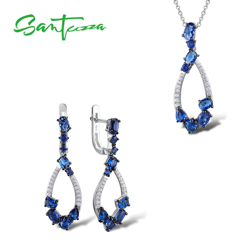 Jewelry Sets for Women Blue Nano Cubic Zirconia Stones Jewelry Set Earrings Pendant Necklace 925 Sterling