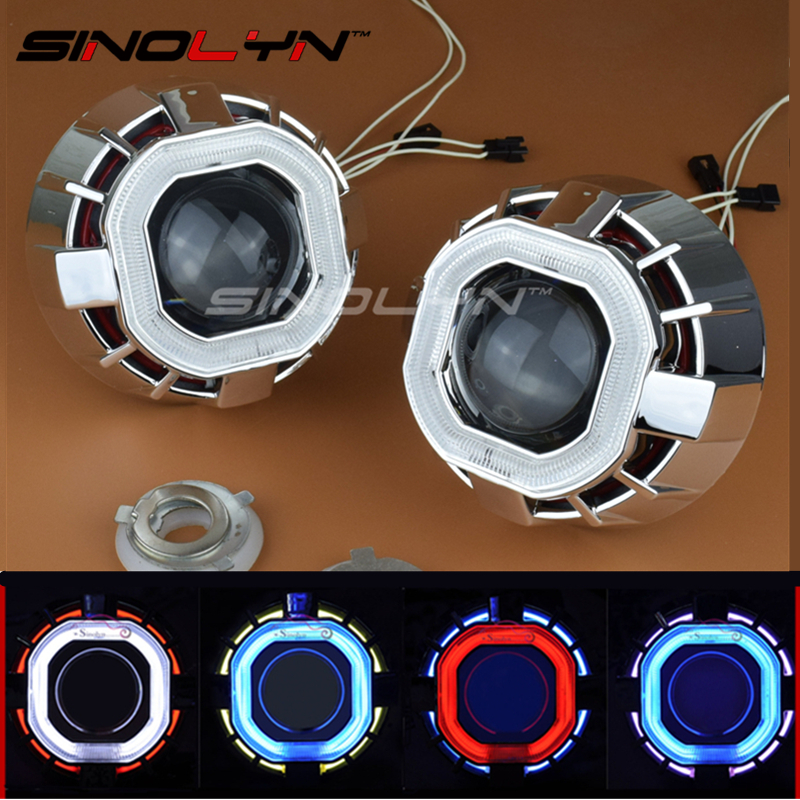 SINOLYN Car Styling 2.5 inch HID Bixenon Projector Lens Headlight Double Dual Square Angel Eyes Halo Xenon Light Headlamp Lenses sinolyn 35w 3 0 inch bi xenon square lens projector hid headlights full metal headlamp glasses lenses diy kit hi lo car styling