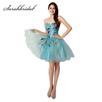 Cheap In Stock Homecoming Dresses Crystal Sweetheart Short Prom Dress Embroidery Lace up Back Cocktail 2017 Peacock Dress SD039