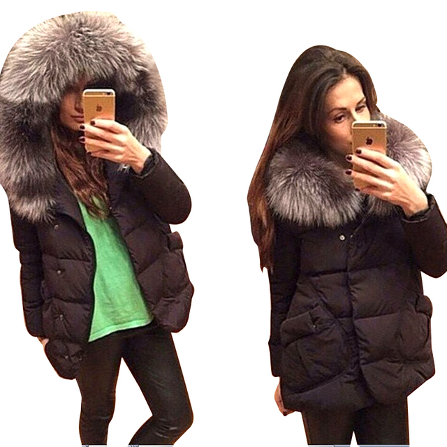 New 2016 Winter Fashion Jackets Women Cotton Full Sleeve Covered Button with Pockets Hat with Feathers Light Down Jacket C057