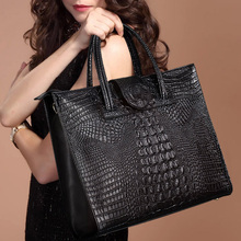 New Fashion Luxury Crocodile Pattern Women's Real Leather OL Handbags Genuine Leather Ladies Shoulder Bag Business Computer Bags