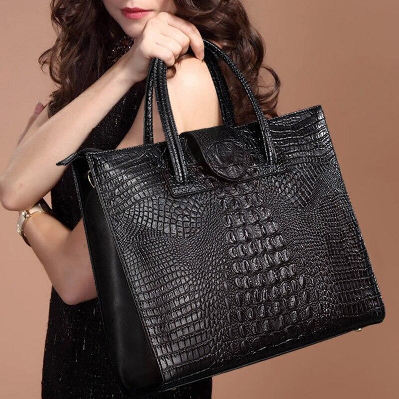 Nouveau mode de luxe motif Crocodile femmes en cuir véritable OL sacs à main en cuir véritable dames sac à bandoulière d'affaires sacs d'ordinateur-in Sacs à bandoulière from Baggages et sacs    1
