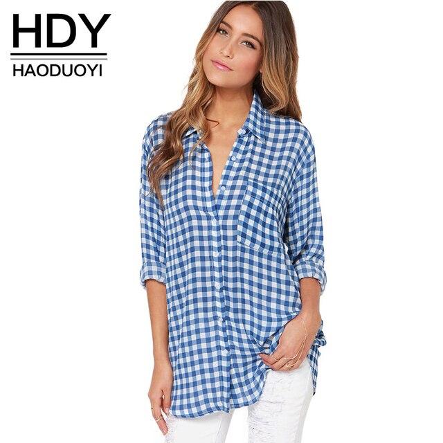 Hdy haoduoyi moda casual xadrez azul blusa mulheres camisa longo solto para o transporte por atacado e livre mulheres tops feminino