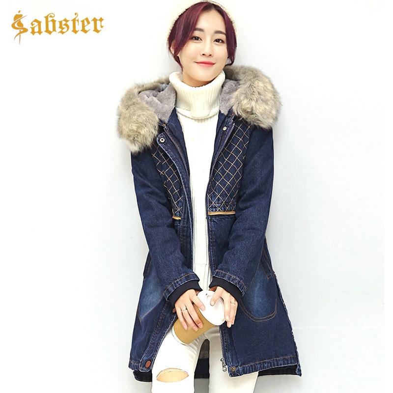 купить 2017 New Denim Parka Jacket Women Winter Fleece Thick Warm Female Coat Casual Hooded Plus Size Jeans Coat S-3XL дешево