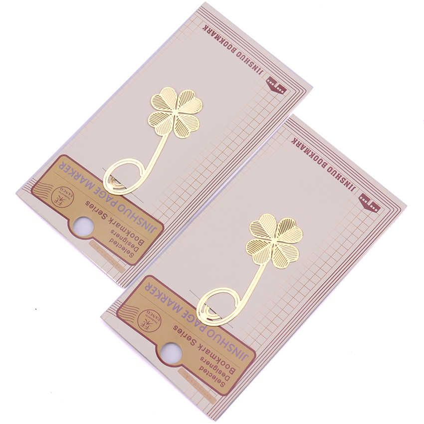 1PC ארבעה עלה תלתן מתכת זהב צבע סימנייה יצירתי יפה ספר מכתבים משרד אספקת Escolar Papelaria