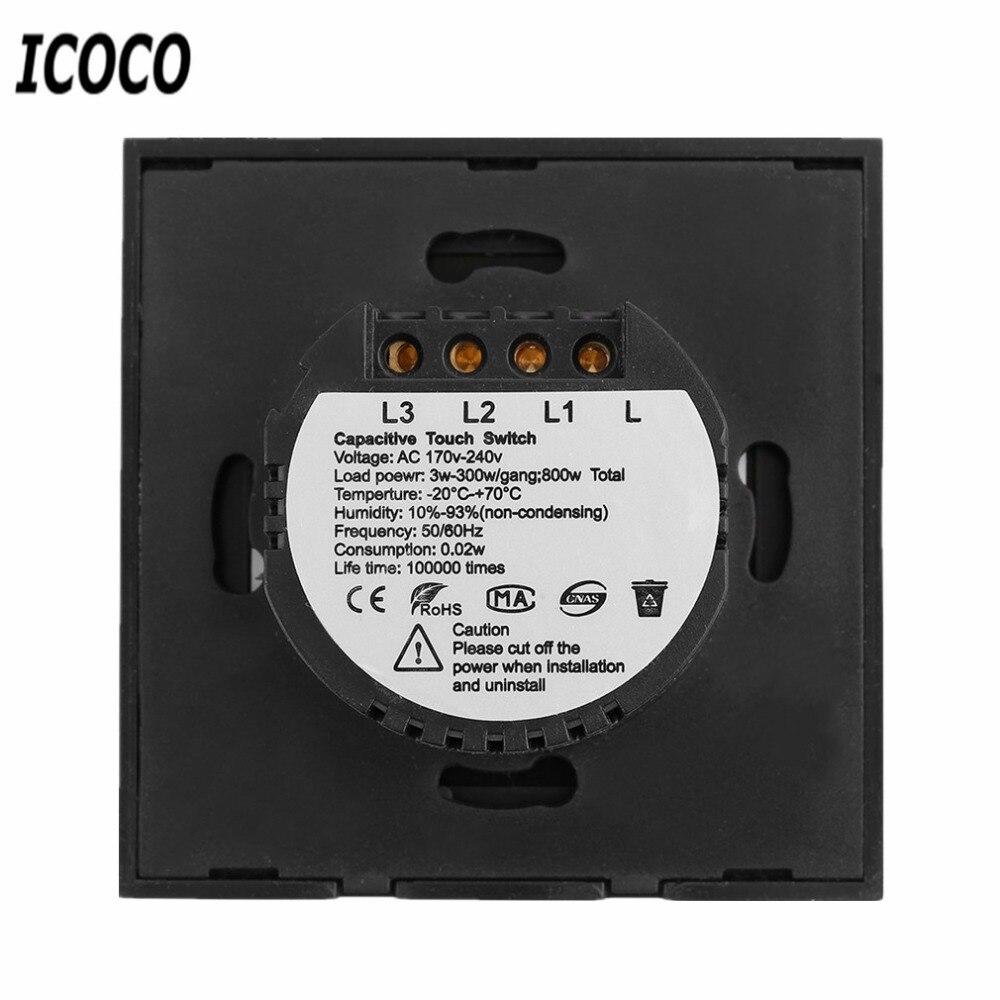 EU Plug 1/2/3 Circuit Touch Screen Switch 1 2 3 Gang 1 Remote ...