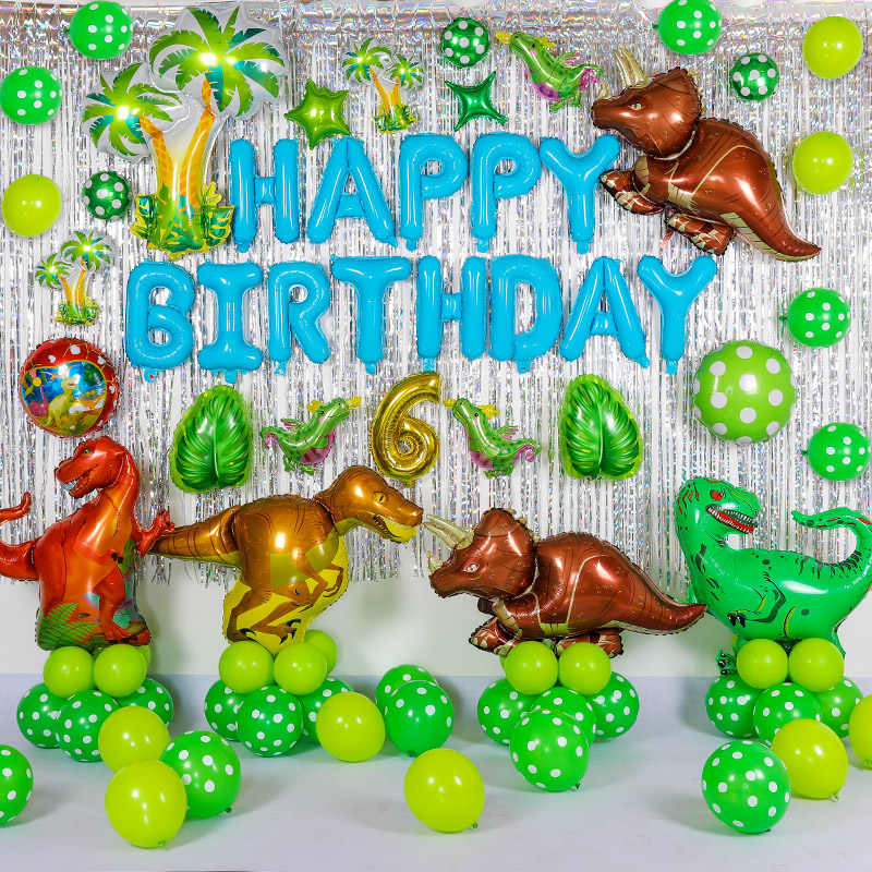 50pcs new Large Dinosaur foil balloons boy's birthday party decorations  baloon kids 1st birthday gift photo booth air balls