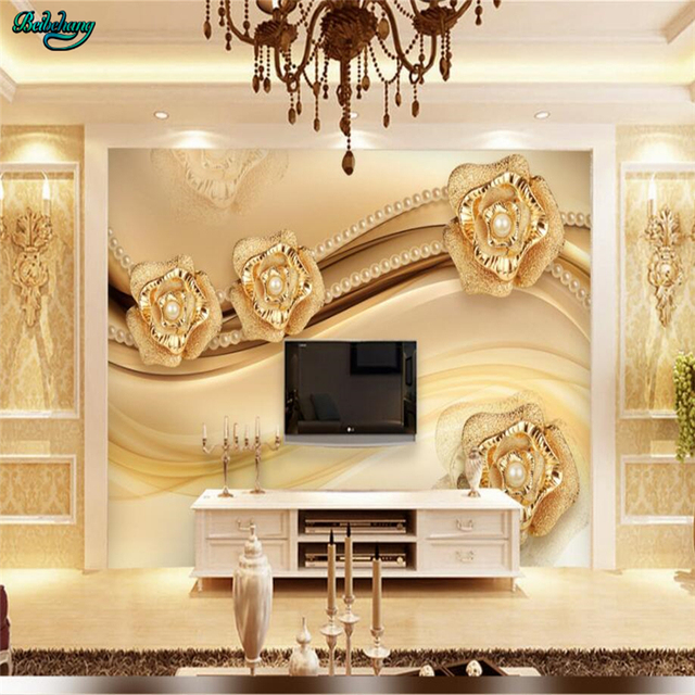 Large 3d European Pearl And Rose Jewelry Tv Background: Beibehang Large Custom Wallpaper High End Gold Rose 3D