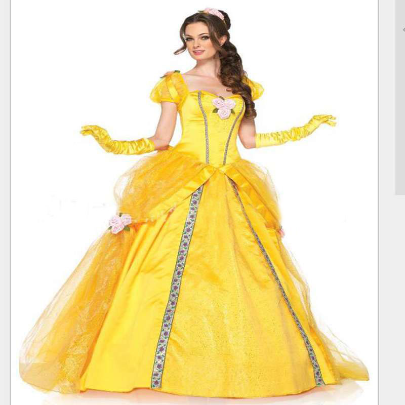 Halloween Costume Belle Princess  Dress Beauty And The Beast Bell Adult Roles Suit Belle Stage