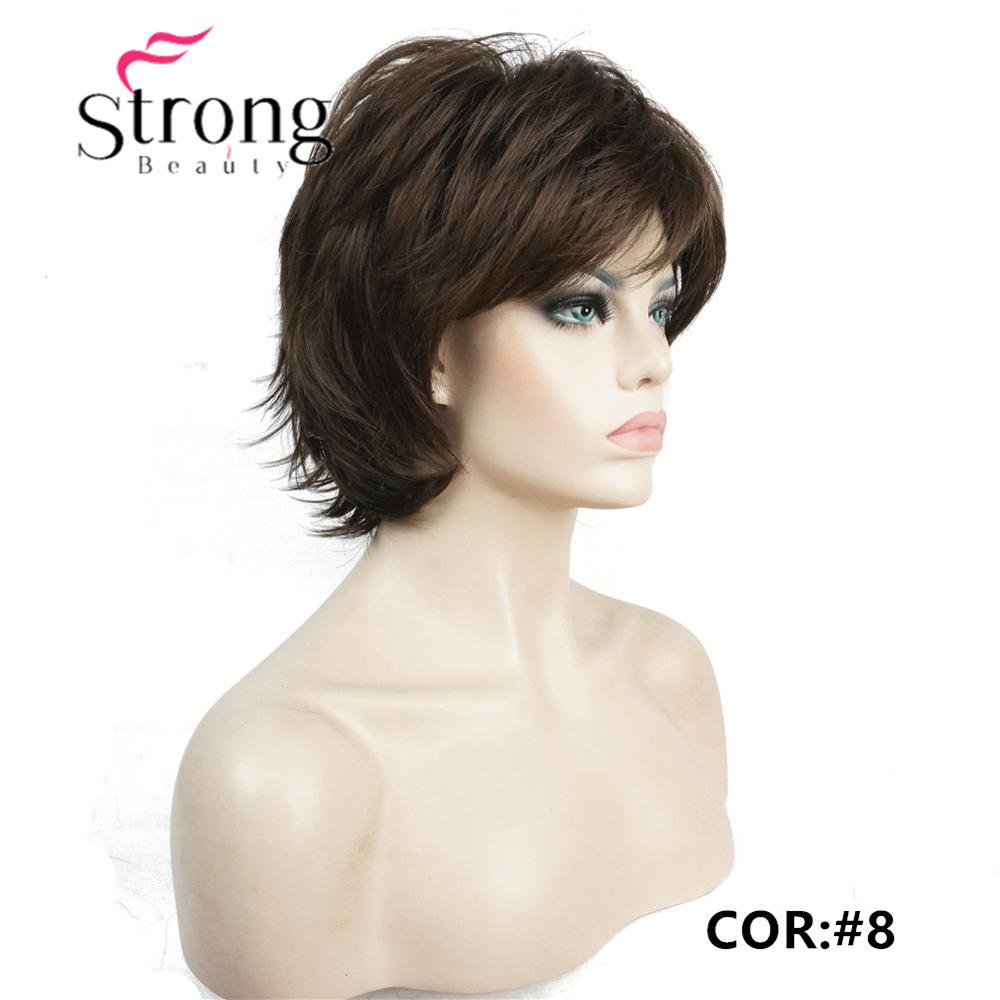 Strongbeauty Short Layered Shaggy Copper Red Full Synthetic Wig