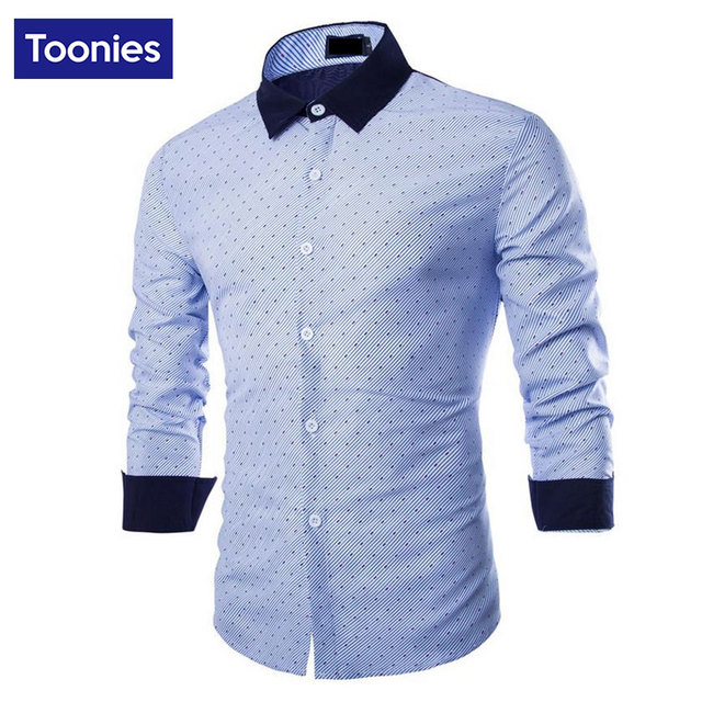 Men's Business Formal Shirts Long Sleeve Turn-down Collar Dress Shirt Casual Brand Men Male Tops Clothing Contrast Color Autumn