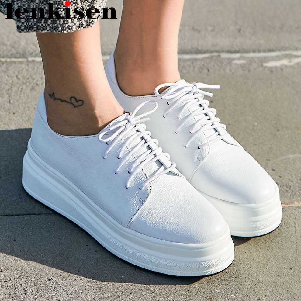 Lenkisen concise style round toe thick high bottom platform lace up sneakers natural leather young girls