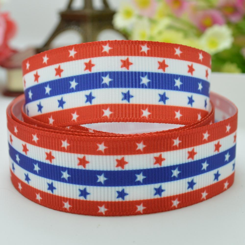 independence day holiday cartoon bow handmade 22mm print grosgrain ribbon 7/8 party decorations birthday gift paking