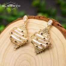 GLSEEVO Original Handmade Geometric Natural Pearl Drop Earrings For Women Pave Zircon Luxury Fine Jewelry Anillos Mujer GE0694