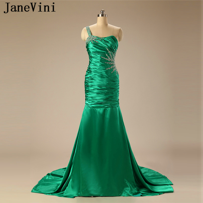 JaneVini Sexy Mermaid Green Prom Dress 2019 One Shoulder Sequins Beaded Backless Satin Dresses Sweep Train Black Girl Prom Dress
