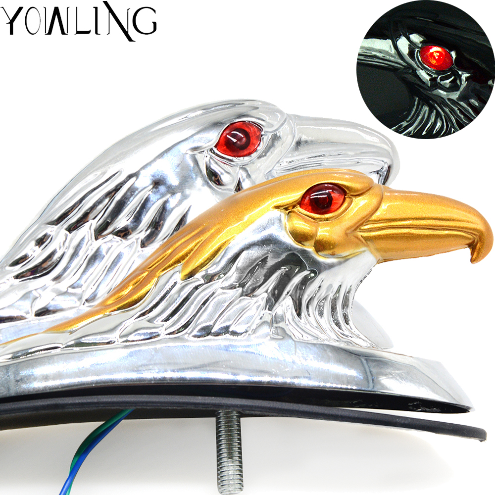 Silver & Guld Motorcykel Eagle Head Fender Ornament med Röd Lighted Eye Motorcykel ATV Bike Aluminium Front Mudguard Decoration