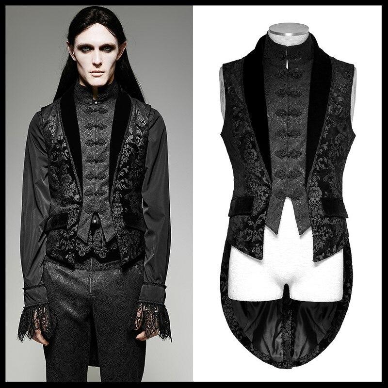 Men/'s Tank Top Steampunk Short Vest Jacket Sleeveless Gothic Cosplay Stage Coat