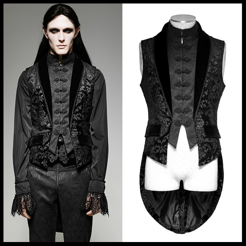Punk Rave Mens Long Waistcoat Vest Black Gothic Steampunk Victorian Aristocrat