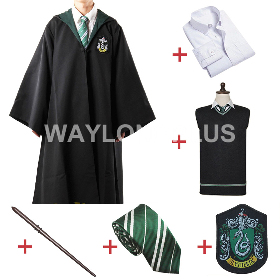 Free Shipping Slytherin Malfoy Robe Cloak Pullover Sweater Shirt Necktie Badge Wand for Harri Potter