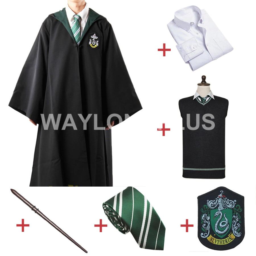 Livraison Gratuite Serpentard Malfoy Robe Manteau Pull Chandail Chemise Cravate Badge Baguette pour Harri Potter Cosplay