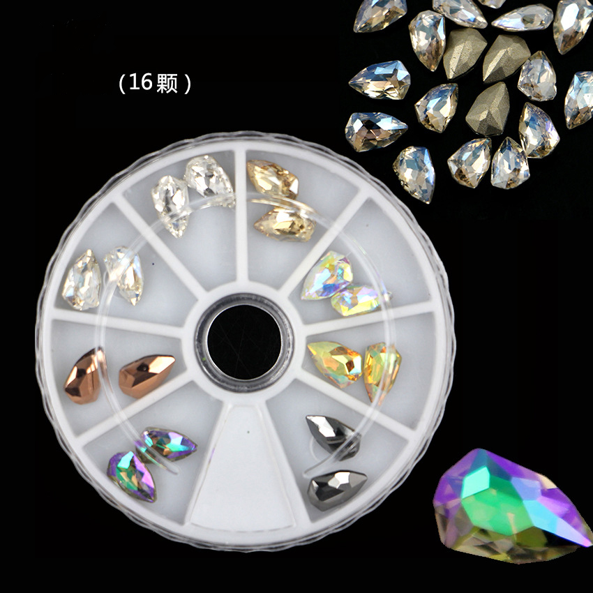 The Hugely Popular! Mix 8 colours Shield shape Manicure K9 Protein color Crystal Glass Rhineston Pointback NAIL ART 16pcs/piece